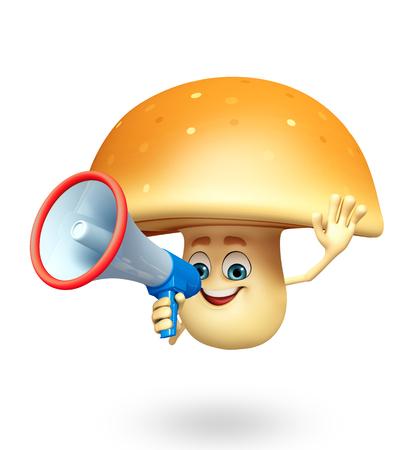 healthy snack: 3d rendered illustration of mushroom cartoon character