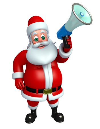 three wishes: 3d rendered illustration of santa claus with speaker Stock Photo