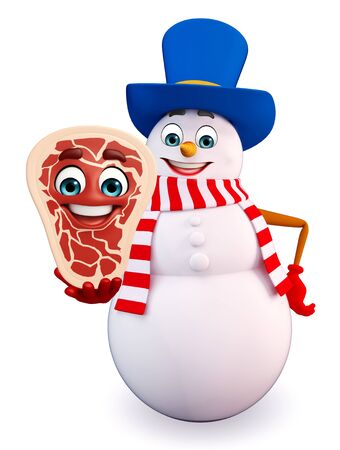 three wishes: 3d rendered illustration of snowman with meat steak