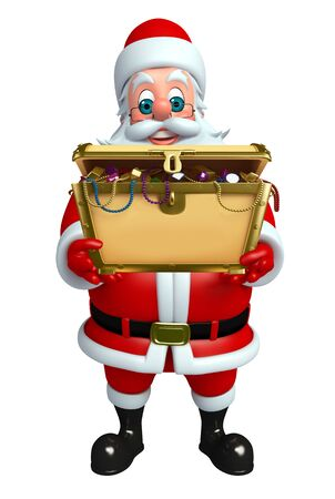 treasury: 3d rendered illustration of santa claus with treasury box