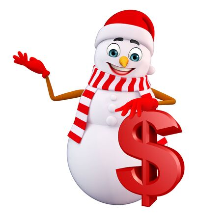 three wishes: 3d rendered illustration of snowman with dollar sign