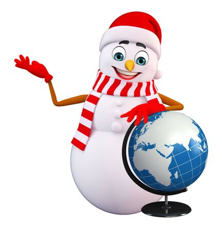 three wishes: 3d rendered illustration of snowman with globe