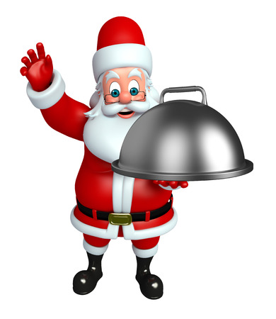 wishlist: 3d rendered illustration of santa claus with pan Stock Photo
