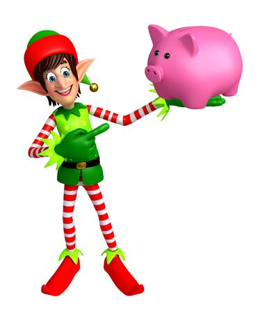 three wishes: 3d rendered illustration of elves with piggy bank Stock Photo