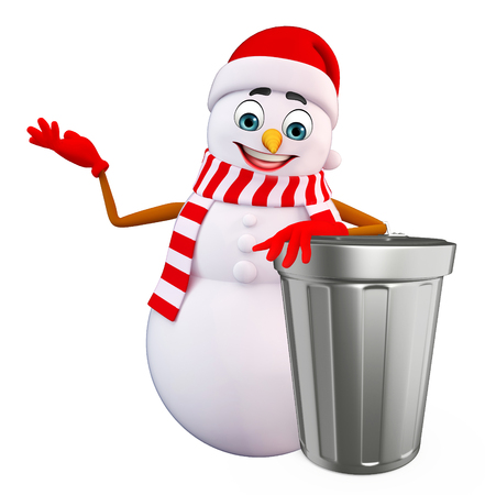 three wishes: 3d rendered illustration of snowman with dustbin