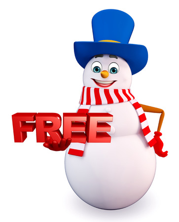 three wishes: 3d rendered illustration of snowman with free sign