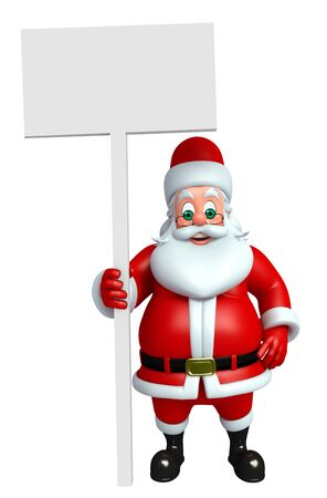 3d rendered illustration of santa claus with sign
