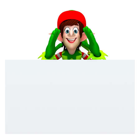 three wishes: 3d rendered illustration of elves with sign Stock Photo