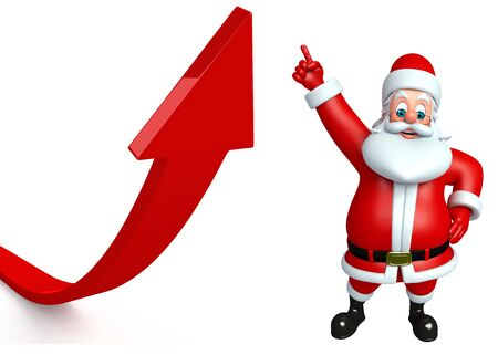 three wishes: 3d rendered illustration of santa claus with arrow