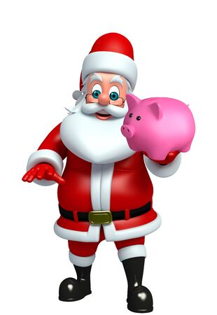 toy sack: 3d rendered illustration of santa claus with piggy bank