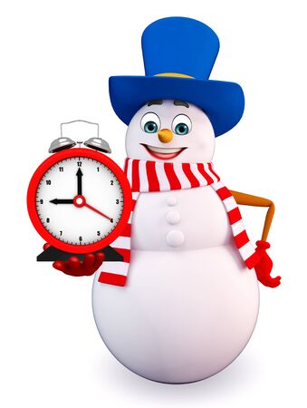 three wishes: 3d rendered illustration of snowman with clock