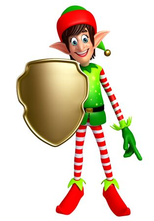 three wishes: 3d rendered illustration of elves with shield Stock Photo