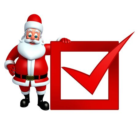 three wishes: 3d rendered illustration of santa claus with right sign Stock Photo