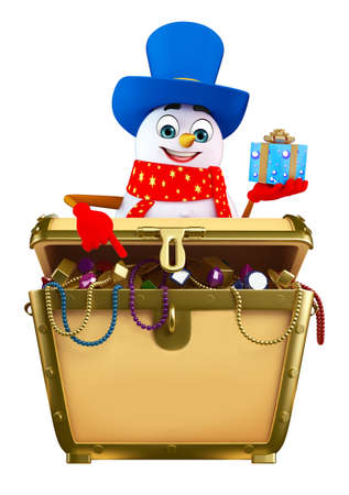 treasury: 3d rendered illustration of snowman with treasury box Stock Photo