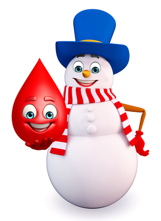 three wishes: 3d rendered illustration of snowman with blood drop Stock Photo