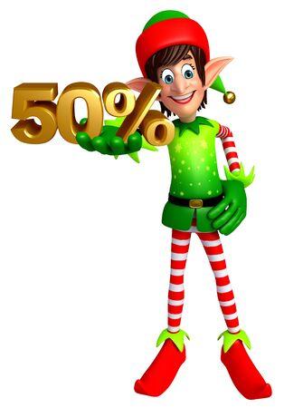 duendes de navidad: 3d rindió la ilustración de elfos con el signo de porcentaje Foto de archivo