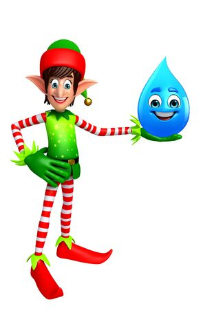 three wishes: 3d rendered illustration of elves with water drop Stock Photo