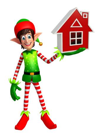 elves: 3d rendered illustration of elves with house