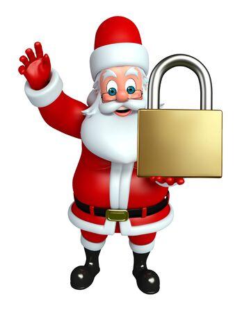 wishlist: 3d rendered illustration of santa claus with lock