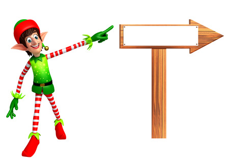 three wishes: 3d rendered illustration of elves with arrow sign Stock Photo