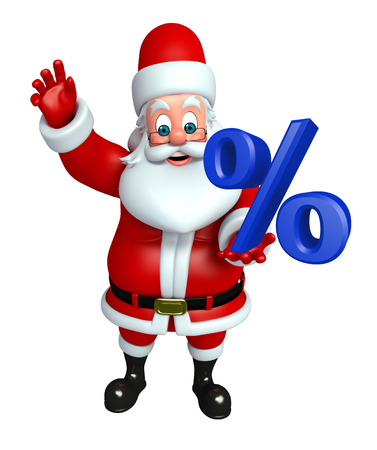 toy sack: 3d rendered illustration of santa claus with percent sign