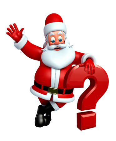 three wishes: 3d rendered illustration of santa claus with question mark Stock Photo