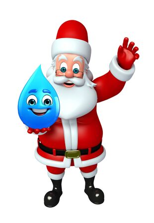 wishlist: 3d rendered illustration of santa claus with water drop