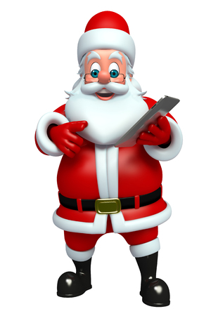 three wishes: 3d rendered illustration of santa claus with notepad Stock Photo