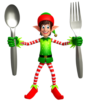 elves: 3d rendered illustration of elves with spoon Stock Photo