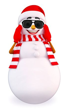 three wishes: 3d rendered illustration of snowman with Stock Photo