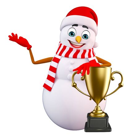 three wishes: 3d rendered illustration of snowman with trophy Stock Photo