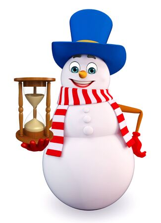 three wishes: 3d rendered illustration of snowman with sand clock
