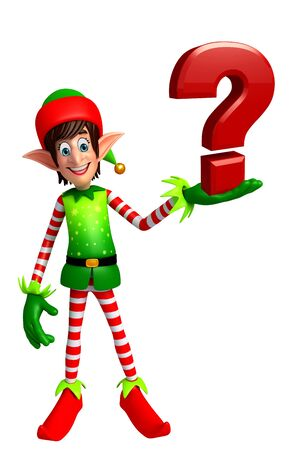 three wishes: 3d rendered illustration of elves with question mark Stock Photo