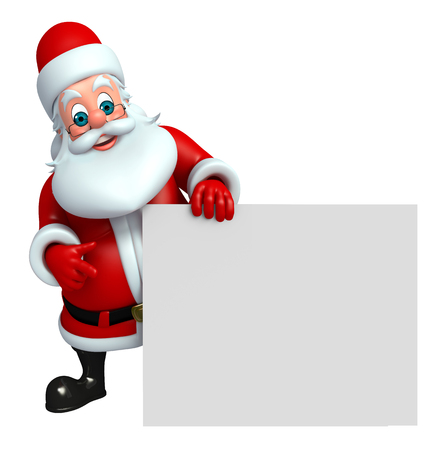 three wishes: 3d rendered illustration of santa claus with sign