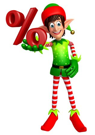 three wishes: 3d rendered illustration of elves with percentage sign