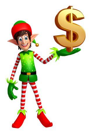 duendes de navidad: 3d rindió la ilustración de elfos con el dólar Foto de archivo