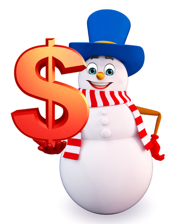 three wishes: 3d rendered illustration of snowman with dollar
