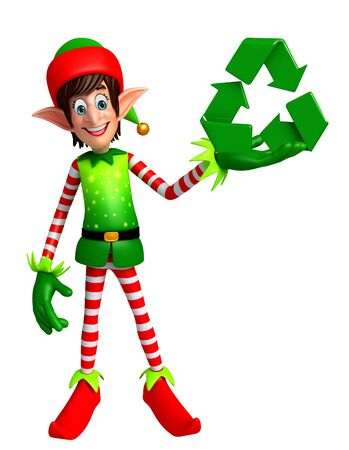 three wishes: 3d rendered illustration of elves with recycling icon
