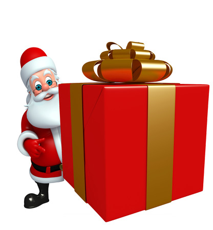 three wishes: 3d rendered illustration of santa claus with gift box Stock Photo