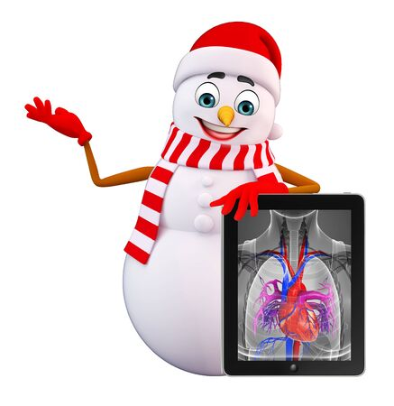three wishes: 3d rendered illustration of snowman with x-ray
