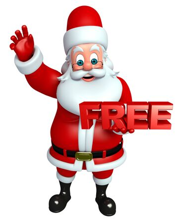 wishlist: 3d rendered illustration of santa claus with free sign Stock Photo
