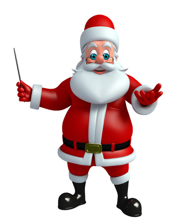 three wishes: 3d rendered illustration of santa claus with magic stick Stock Photo