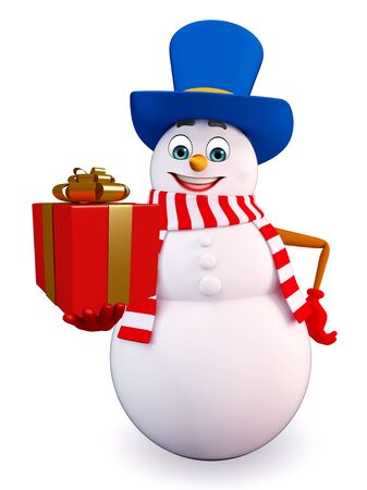 three wishes: 3d rendered illustration of snowman with gift box