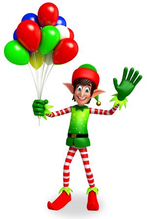 elves: 3d rendered illustration of elves with balloon Stock Photo