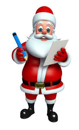 toy sack: 3d rendered illustration of santa claus with notepad Stock Photo
