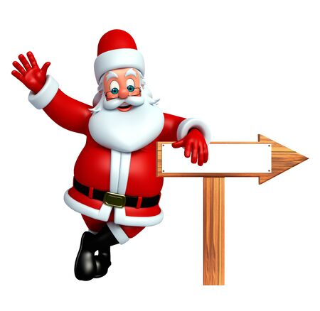 wishlist: 3d rendered illustration of santa claus with arrow sign