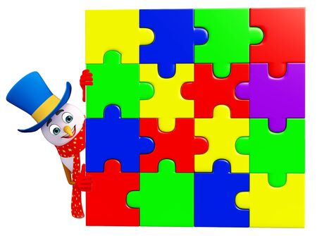 three wishes: 3d rendered illustration of snowman with puzzle