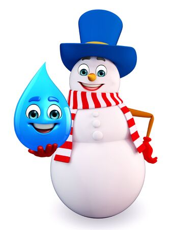 three wishes: 3d rendered illustration of snowman with water drop