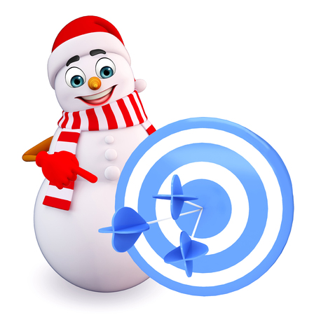 three wishes: 3d rendered illustration of snowman with target board