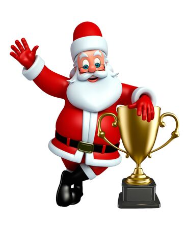 3d rendered illustration of santa claus with trophy